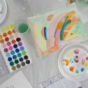 watercolor painting and palette
